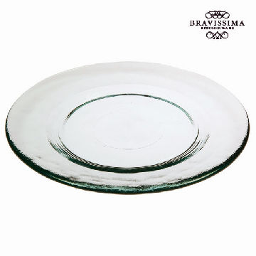 Recycled Glass Dessert Plate Smooth Transparent - Pure Crystal Kitchen Collection by Bravissima Kitchen