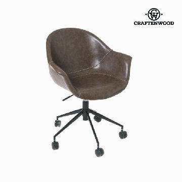Office Chair Polyskin Dark Brown / Wheels - Ellegance Collection by Craftenwood