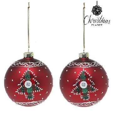 Christmas Baubles Christmas Planet 1785 8 cm (2 uds) Crystal Red