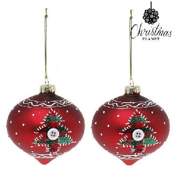 Christmas Baubles Christmas Planet 1792 8 cm (2 uds) Crystal Red