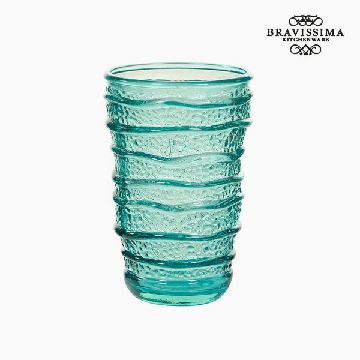 Recycled Glass Vase Turquoise (8 x 8 x 13 cm) by Bravissima Kitchen