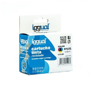 Recycled Ink Cartridge iggual IGG314968 HP 62 Colour