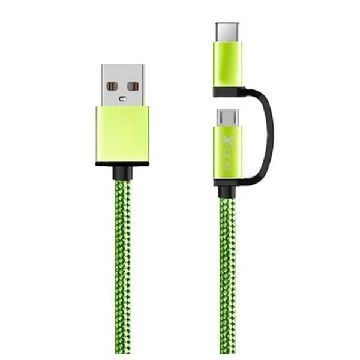 USB Cable to Micro USB and USB C Ref. 101134 | Green