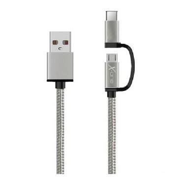 USB Cable to Micro USB and USB C Ref. 101141 | Silver