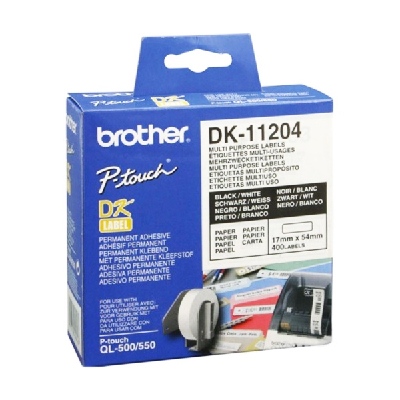 Multipurpose printer labels Brother DK11204 17 x 54 mm Hvid