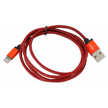PLATINET CABLE MESH LIGHTNING 1M BOX Red