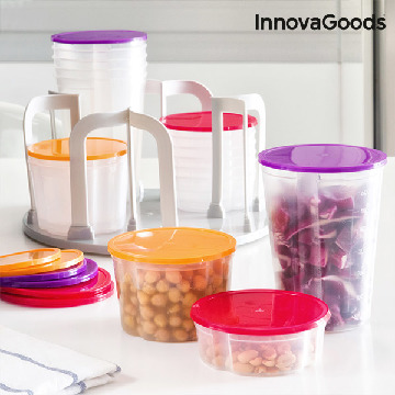 InnovaGoods Set of Stackable Lunch Boxes with Rotating Stand (49 pieces)