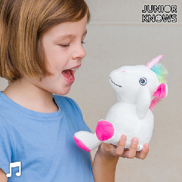 Junior Knows Stuffed Unicorn with Voice Recorder and Audio Player
