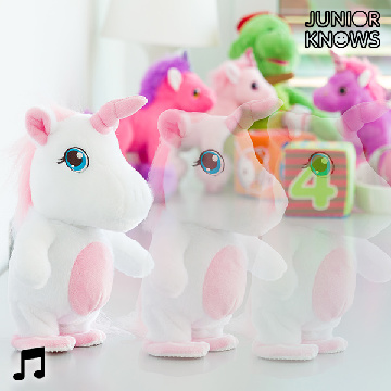 Junior Knows Unicorn Walking Fluffy Toy with Recording & Voice Reproduction