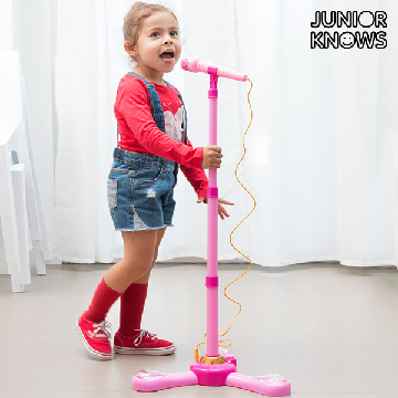 Junior Knows Microphone and Stand with LED Lights and MP3 or Mobile Connection
