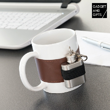 Gadget and Gifts Ceramic Mug with Metal Hip Flask