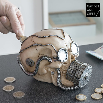 Gadget and Gifts Skull Piggy Bank with Gas Mask
