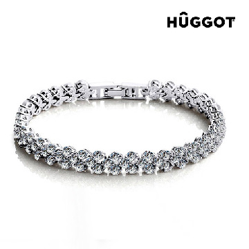 Hûggot Chained Love Rhodium-Plated Bracelet with Zircons (18 cm)
