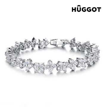 Hûggot Charm Rhodium-Plated Bracelet with Zircons (18 cm)