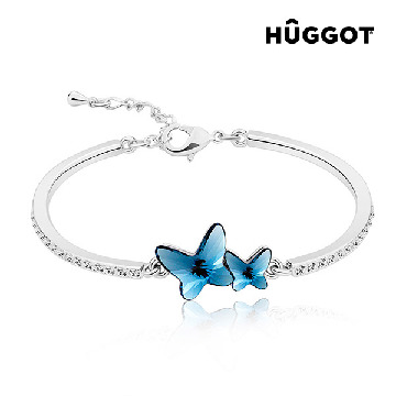 Hûggot Flying Rhodium-Plated Bracelet with Zircons Created with Swarovski®Crystals (Ø 6 cm)