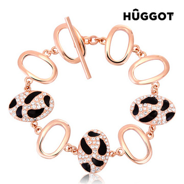 Hûggot Tiger 18 Kt Pink Gold-Plated Bracelet with Zircons (18 cm)