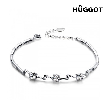 Hûggot Unequal 925 Sterling Silver Bracelet with Zircons (18 cm)