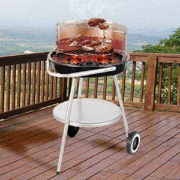 Wheeled Charcoal Barbecue with Adjustable Grate