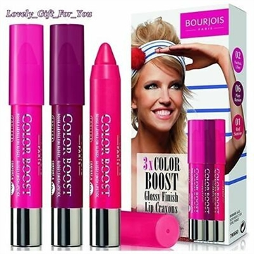 Bourjois Paris 3x Color Boost Glossy Finish Lip Crayons Fuchsia, Plum Russian, Red Sunrise
