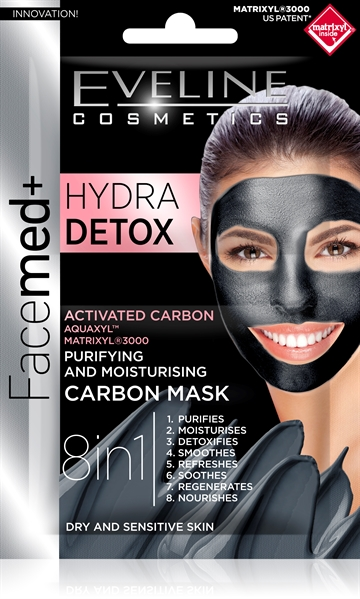 Eveline Facemed+ Hydra Detox Purifying&Moisturising Carbon Mask 2X5ml