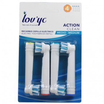 Lov'yc electric toothbrush refill 4' Action Clean minibox 12'