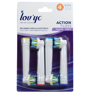 Lov'yc electric toothbrush refill 4' Action Floss minibox 12'
