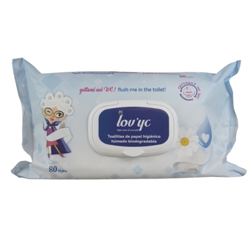 Lov' Yc Wc Wipes 80' Camomile Biodegradable Pop-Up