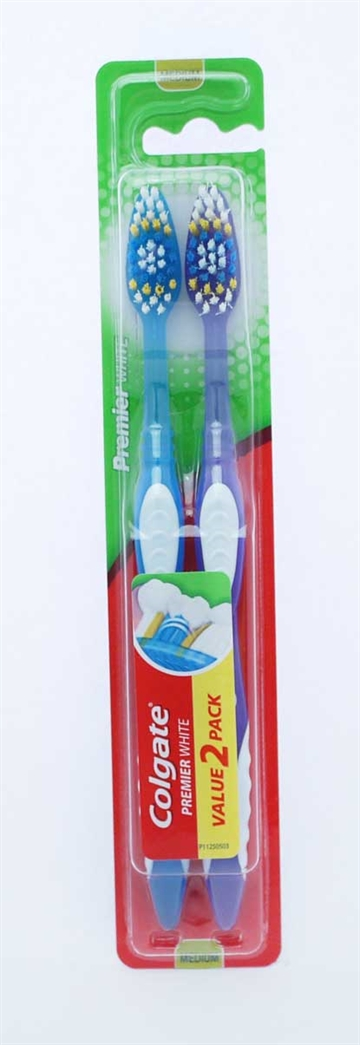 Colgate Toothbrush Premium White Medium Twin