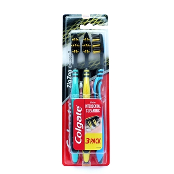 Colgate Toothbrush Charcoal Zigzag 3Pk