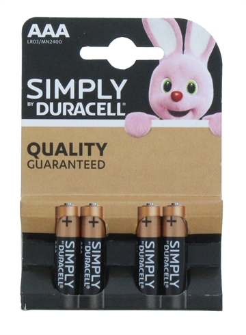 Duracell Aaa Simply 4'S New Pack