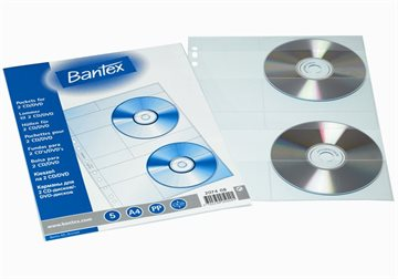 Cd-Lomme Bantex 2074  A4 Ps/5 Lommer (Til 2 Cd'Ere)