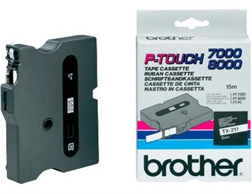 Brother Tape Tx-211  Sort/Hvid 6Mm X 15M  T/Pc-Pt7000-Pt8000