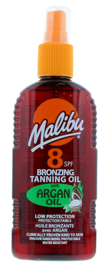 Malibu 200ml SPF 8 Bronzing Tanning Oil With Argan Oil