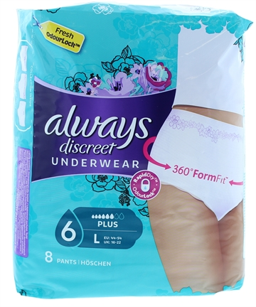 Always Pants Plus Lge 8 Bladder Discreet
