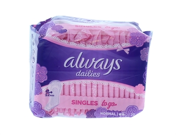 Always 20'S Singles Pantyliners Dailies