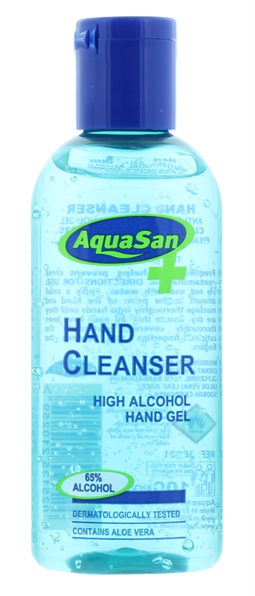 Aquasan 100ml Hand Sanitiser Anti Bacterial Alcohol Gel 65%