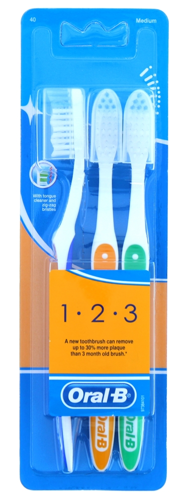 Oral B 123 Tootbrush Medium 3Pack