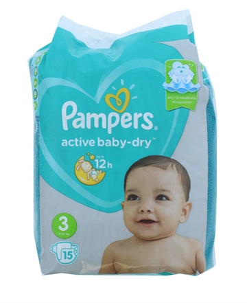 Pampers Active Baby Dry Nappies Size 3 15'