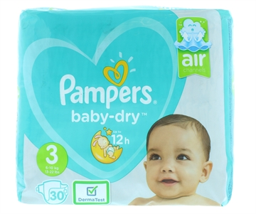 Pampers Baby Dry Nappies Size 3 30'